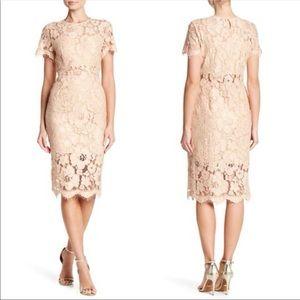 NSR Lace dress midi beige tan cream embroidery M